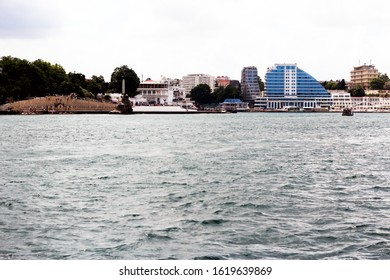 Yalta coast on the background of buildings
