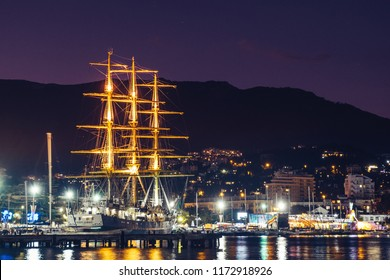 Yalta, Crimea - August 05, 2018: The Khersones or Chersones is a Russian tall ship in the bay of Yalta
