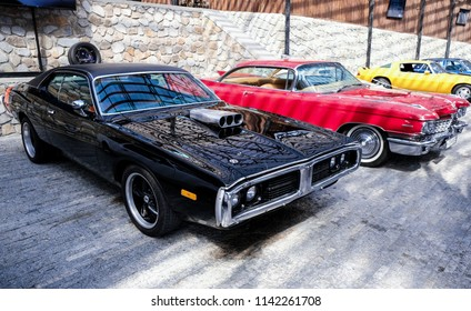 YALTA, CRIMEA - July 1, 2018: Exhibition of retro cars in the Museum of automotive art