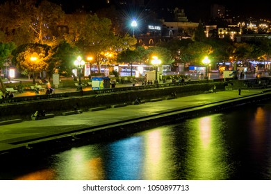 Yalta, Crimea - October 2014: View of the Yalta embankment in the evening. The south coast of Crimea