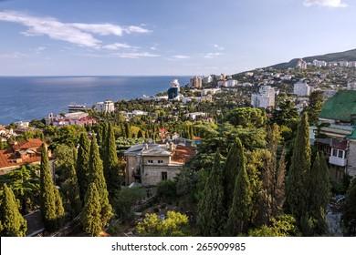 Yalta, Crimea: Panoramic view on famous resort, Russia.
