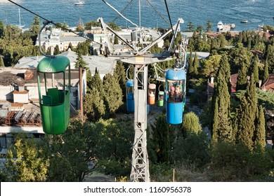 YALTA, CRIMEA, UKRAINE - AUGUST 20, 2011: The cable car in Yalta has always been popular