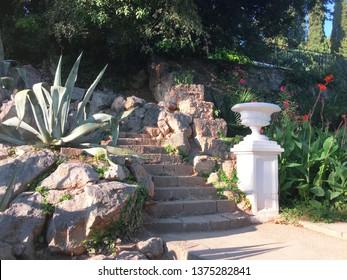 Yalta, Nikita, Crimea / August, 2018: Ivy-covered staircase in Nikitsky Botanical garden