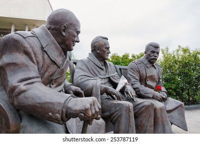 "Yalta, RUSSIA - FEBRUARY 4: Opening of the monument in honor of the 70th anniversary of the Yalta Conference, the leaders of the ""Big Three"", held at the Livadia Palace from 4 - 11 February 1945. 2015"