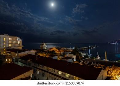 Yalta, Russia - June 14, 2018: the night sea of Yalta