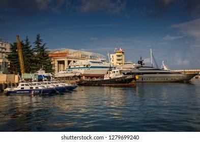 Yalta, Russia - June 18, 2018: Sea port. Yalta