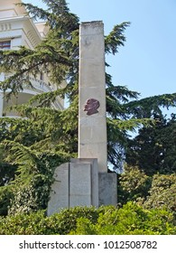 "YALTA, RUSSIA - SEPTEMBER 07, 2011: An obelisk with the text of the Lenin decree ""About use of the Crimea for treatment of workers"""