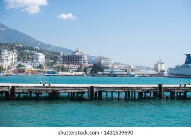 Yalta. Russia - September 13, 2017: The South Coast of Crimea. View from Black Sea. Landscape with Hotels and Yachts. Yalta. Russia