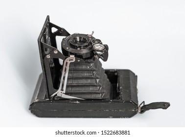 Yalta, Ukraine - 05.10.2019 Antique folding Zeiss-Ikon camera isolated on white