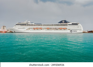 YALTA, UKRAINE - APRIL 22: MSC Lirica cruise ship in the seaport city of Yalta on April 22, 2013 in Yalta, Crimea, Ukraine.