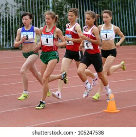 YALTA, UKRAINE - MAY 25 :(L-R) Lupenkova Olga, Guletskaia Tatiana, Argun Aishe, Umak Gizem at 3,000 meters race on athletic meet between Ukraine, Turkey, Belarus on May 25, 2012 in Yalta, Ukraine .