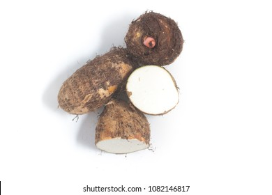 Yam, Inhame, Cara. Colocasia esculenta isolated on white background