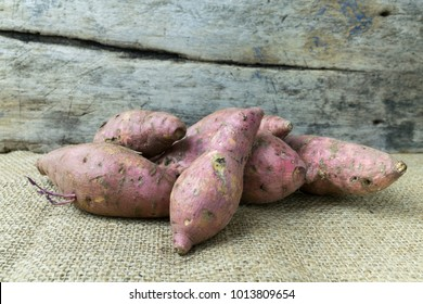 yam on wooden table