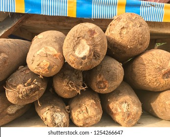 Yam tubers on display in a Lagos marketplace