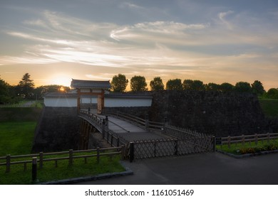 Yamagata Castle entrance and sunset.