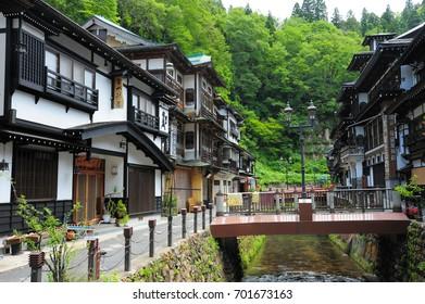 YAMAGATA, JAPAN - July. 9, 2015. Japanese famous hot spring town Obanazawa Ginzan Onsen.