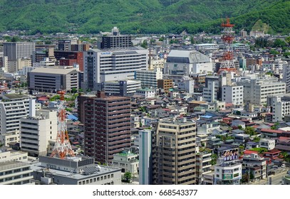 Yamagata, Japan - May 19, 2017. Many buildings at Yamagata City in Tohoku, Japan. Yamagata is located in Tohoku (northeastern) region on Honshu (main) island.