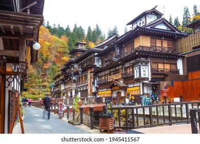 Yamagata, Japan-November 2019:Ginzan onsen at autumn, Yamagata, Tohoku, Japan.
