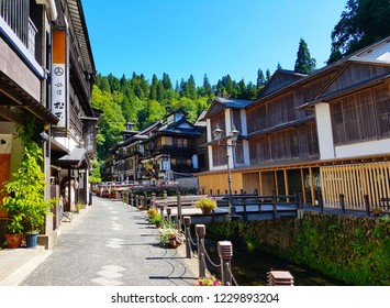 Yamagata, JP - SEPTEMBER 23, 2018: Scenery of the Obanazawa Ginzan Onsen historical village, the famous Japan hot springs town in Yamagata Province, that have a lot of Japanese classic wooden inns.
