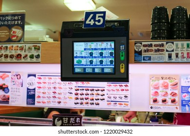 Yamaguchi City, Japan - November 03, 2018: Sushi Restaurant, Famous Buffet Sushi in Japan. Tablet for Customer Order Food