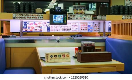 Yamaguchi City, Japan - November 03, 2018: Sushi Restaurant, Sushi Table, Famous Buffet Sushi in Japan
