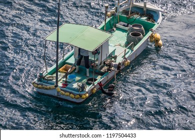 YAMAGUCHI, JAPAN - AUGUST 28, 2018: A diver tosses sea urchins taken from the sea floor onto a fishing boat on the coast of Yamaguchi Prefecture, Japan, near Nagato