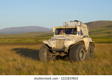 YAMAL, RUSSIA - AUGUST 22, 2018: TREKOL all-terrain vehicle in the tundra on August evening