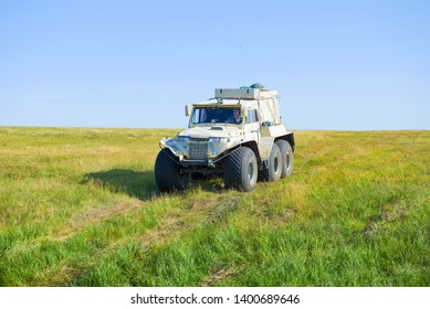 YAMAL, RUSSIA - AUGUST 22, 2018: Trakol all-terrain vehicle in the Yamal tundra on a sunny August day