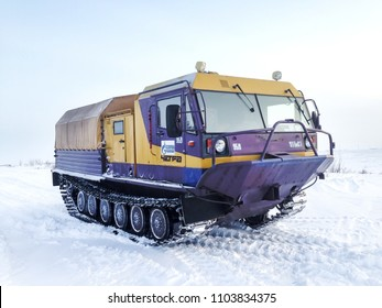 Yamal, Russia - February 20, 2017: Gas service crawler Chetra TM-140 in the polar snow desert.