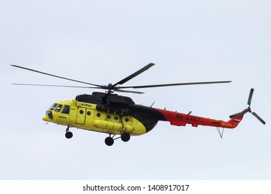 Yamal, Russia - May 25, 2019: UTair Mil Mi-8MTV-1 helicopter arrives to Novyy Urengoy International Airport, Russia.