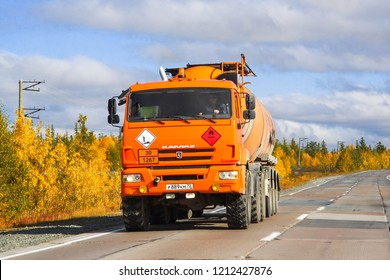 Yamal, Russia - September 8, 2014: Off-road semi-trailer truck KAMAZ 44108 at the interurban road.