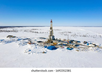 Yamal, RUSSIA-APRIL 01, 2020: Drilling rig at a gas field in the North of Western Siberia