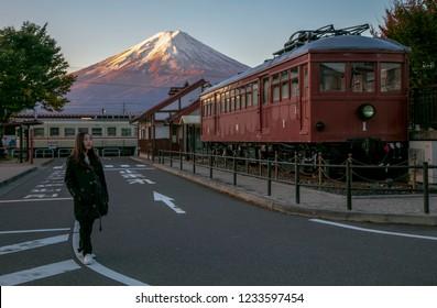 Yamanashi , Japan 18 Nov 2018 - Asian woman stand at Kawaguchiko Station for Fujikyu Railway