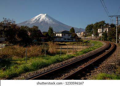 Yamanashi , Japan 18 Nov 2018-Fujikyu Railway to Kawaguchiko Station with Mt.fuji