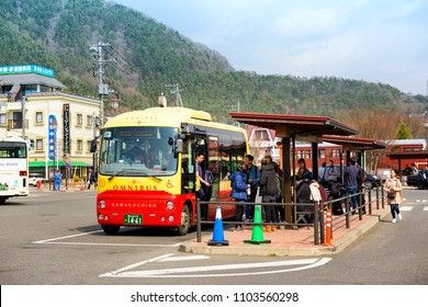 YAMANASHI JAPAN - APRIL 2, 2018 : Kawaguchiko Station, Tourists are using the tour bus service. Transportation is very convenient for both train and bus.