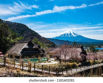 Yamanashi, Japan - April 20, 2017 : Saiko Iyashino-Sato Nenba ancient japanese village is a reconstructed Japanese village where visitors can explore In each individual building.