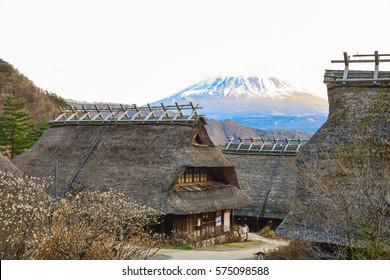 Yamanashi, Japan - Dec 4, 2105 - The ancient village name Saiko Iyashi no sato Nenba is a tourrist attraction where tourists like to visit when traveling around mount Fuji