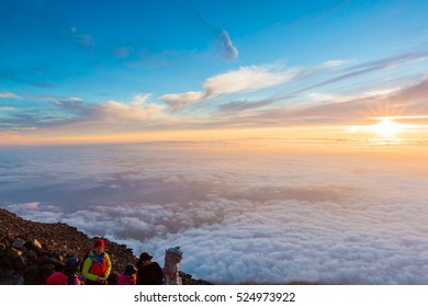 YAMANASHI, JAPAN - JULY 24, 2016 :Most Japanese climb the Fuji mountain at night in order to be in a position at or near the summit when the sun rises. The morning light is called goraiko.