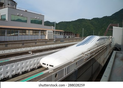 Yamanashi, Japan - June 12: Linear motor high speed train in Yamanashi test line in Japan, June 12, 2015. JR Tokai is planning to build commercial line from Tokyo to Nagoya by 2027.