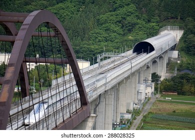 Yamanashi, Japan - June 12: Linear motor high speed train maglev L-0 in Yamanashi test line in Japan, June 12, 2015. JR Tokai is planning to build commercial line from Tokyo to Nagoya by 2027.