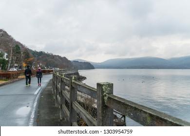 YAMANASHI, JAPAN - NOVEMBER 13, 2018: Morning scene of Yamanaka lake at Yamanashi, Japan