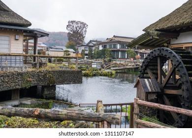 YAMANASHI, JAPAN - NOVEMBER 13, 2018: Day scene of Oshino Hakkai, A small traditional japanese village near mount Fuji, Yamanashi, Japan