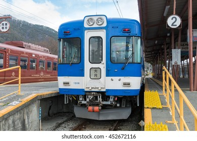 YAMANASHI,JAPAN - APRIL13: Local train at Kawaguchiko terminal station on April 13 , 2015 in Yamanashi, Japan. This station is operated by Fujikyu railway company for Otsuki line and Kawaguchiko line.
