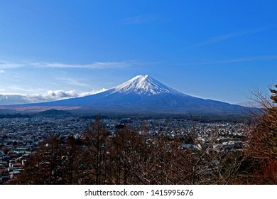 YAMANASHI-JAPAN-FEBRUARY 21 : The view of Fuji Mountain & Natue at Arakura Sengen Shrine, Yamanashi town, February 21, 2019, Yamanashi, Japan.