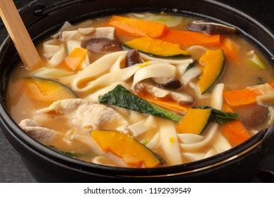 Yamanashi-style Noodle Miso Soup