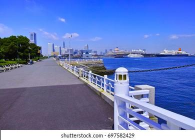 Yamashita Park in summer and a large passenger boat at berth
