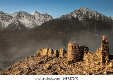 Yamchun Fort is the most visually prominent historic site in the Wakhan Valley in Gorno-Badakhshan Autonomous Province, Tajikistan. The mountains in the distance are in Afghanistan.