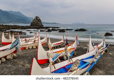 Yami's Aboriginal Canoe on the Beach of Lanyu(Orchid Island), Taitung, Taiwan