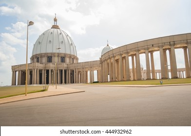 YAMOUSSOUKRO, CôTE D'IVOIRE (IVORY COAST), AFRICA. July 3, 2013. Catholic Basilica of Our Lady of Peace (Basilique Notre-Dame de la Paix). It is considered to be the largest church in the world.