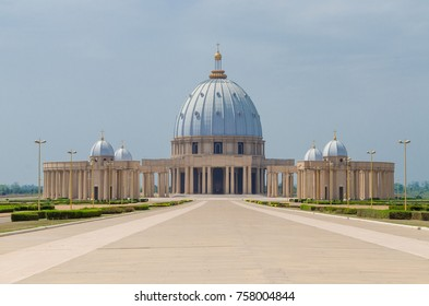Yamoussoukro, Ivory Coast - February 01 2014: Famous landmark Basilica of our Lady of Peace, African Christian cathedral